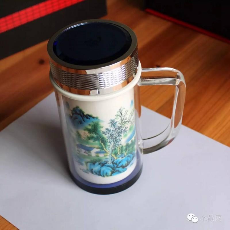 双层水晶陶瓷杯悠苑乐(办公杯),水晶杯盖,正宗景德镇优质陶瓷体。